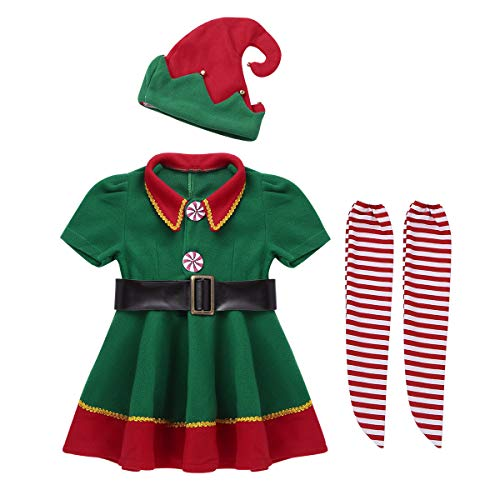 Freebily Weihnachtskostüm Kinder Jungen Mädchen Weihnachten Outfit Kleid/Tops mit Hut Gürtel Strumpfhosen Set für Cosplay Halloween Party Kostüm Kleidung Set Grün Mädchen 86-92/18-24 Monate