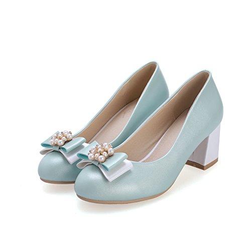 AgooLar Damen Ziehen Auf Rund Zehe Mittler Absatz Pu Leder Rein Pumps Schuhe Blau