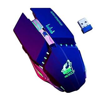 ACMEDE Drahtlose Gaming Maus, Wiederaufladbare 2.4Ghz Kabellose Gaming-Maus mit USB-Empfänger, RGB-Farbe, 1600 DPI, für Notebook, PC, Laptop