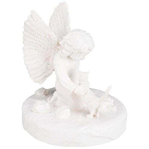 Gedenkstein Katze mit Engel 38419 Maße: ø 12 × 14 cm Farbe: weiß