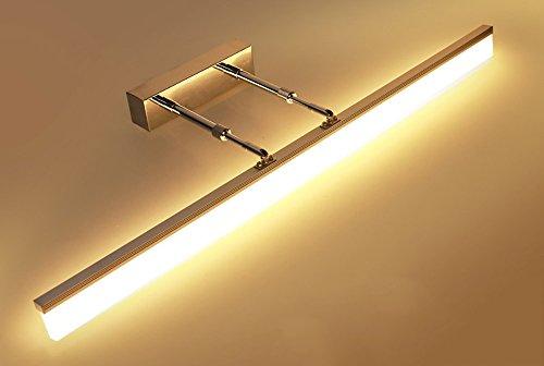 Frontspiegelleuchten Spiegelfrontlichtknopf Einziehbare kurze Länge führte Edelstahlbadezimmerwandlampenspiegelkabinettlicht einfaches modernes natürliches Licht ( Color : Warm light-Gold 60CM-12W )