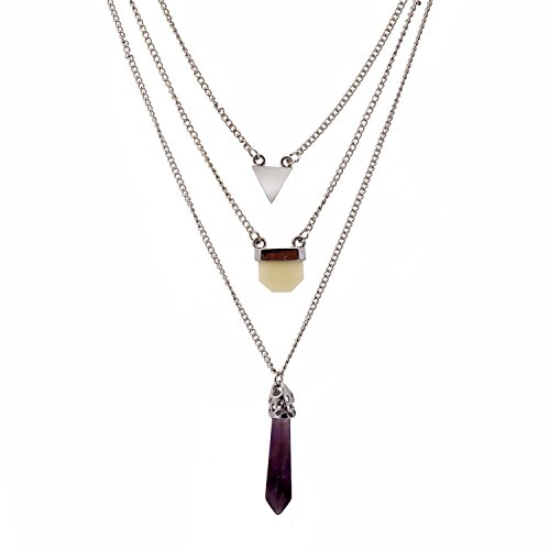 Lureme® più pendente del triangolo della catena a strati e cristallo guarigione collana naturale ametista epoca(01003378-2) rodio