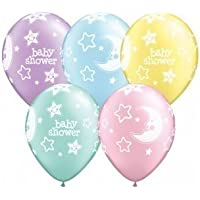 "Baby Shower Moon & Stars Pearl Pastel Assorted Qualatex Latex 11"" Balloons x 5"