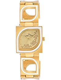 Meclow Design Gold And White Metal Strap Watch, Square White And Gold Leaf Pa