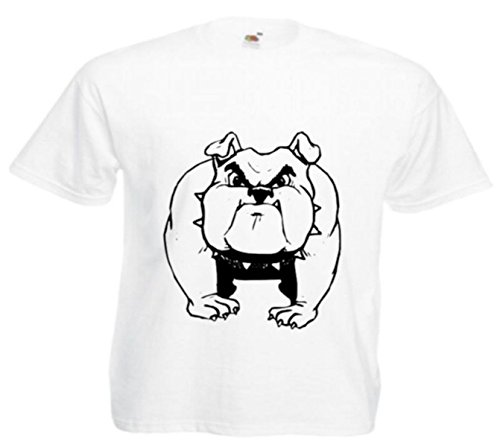 Motiv Fun T-Shirt Bulldogge Hunde Baby Welpe Rassehund Hundesport Motiv Nr. 2993 Weiß