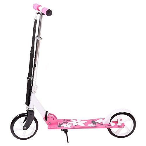 FunTomia® Kinderroller Scooter Roller Cruiser Kick Jump Cityroller in 4 Farben und klappbar (Pink Blume)