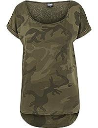 Urban Classics Ladies Camo Back Shaped Tee, T-Shirt Femme, Motif Camouflage Foncé, X-Small