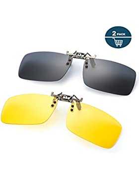 2 Pares Gafa de Sol Polarizada con Clip de - Gafas Nocturnas Conducción/Golf/y Mucho Más Deportes Exteriores,...