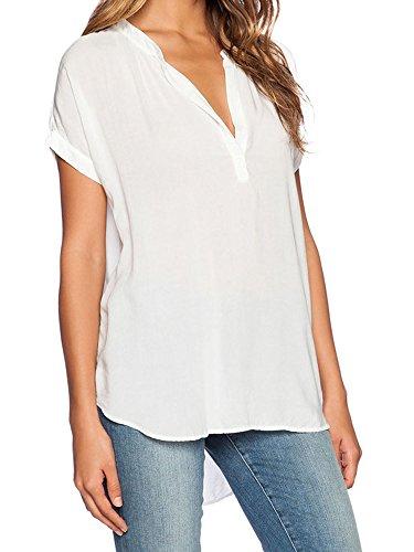 Elevesee Damen Chiffon-Bluse mit V-Ausschnitt Kurzarm-Spitze Hemden (Etikettgröße M, Weiß)
