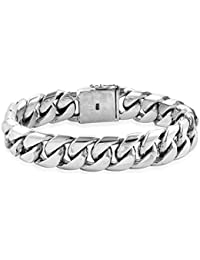 TJC 925 Sterling Silver Curb Link Chain Bracelet for Men Size 8.5 Inches, a Perfect and Memorable Father's Day, Birthday, Friendship Day Gift