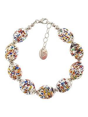 Venetiaurum - Bracelet pour femme avec perles en véritable verre de Murano et argent 925 - Bijou certifié Made in Italy
