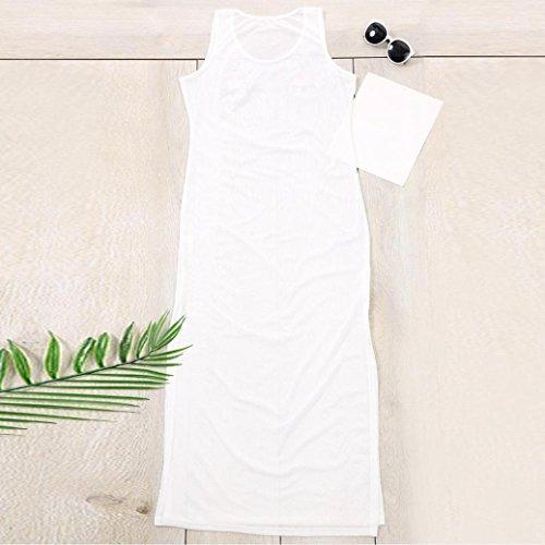 Tpulling Maillot de Bain Femme 1 Pieces ❤️ Femmes Floral Broderie Maille sans Manches Bikini Cover Up Plage Écran Solaire Robe white