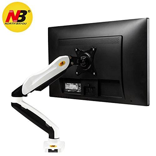 """STANDMOUNTS Monitor Tischhalterung Drehbar Neigbar Monitorhalterung mit Gasdruckfeder für OLED LED LCD Monitore 17""""-27"""" Zoll Belastbarkeit bis 6,5 kg VESA 75x75 100x100 Monitorhalter F80-B Weiß"""