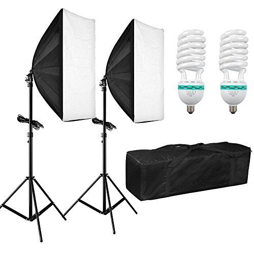BPS 1250W 50x70cm Softbox Kit Ventana de Luz Iluminación Continua Estudio Fotografía - Softbox + Trípode Montaje Universal + Bolsa de Tela Oxford - Equipo Completo Profesional para Retrato, Vídeo, Filmación