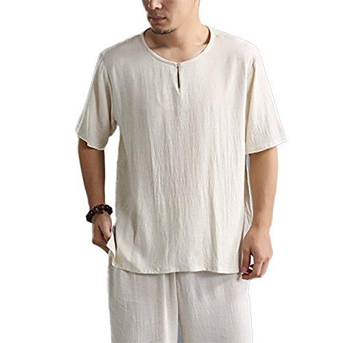 Honghu Herren Loose Crew Neck T-shirt Beige