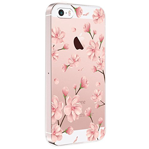 Pacyer iPhone SE Hülle Silikon Ultra dünn Transparent iPhone 5S iPhone 5 Handyhülle Rückschale TPU Schutzhülle für Apple iPhone SE/5S/5 Case Cover Mädchen Elefant Federn (Blumen 5)