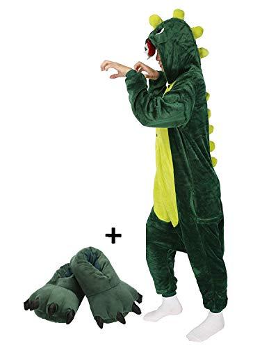 LATH.PIN Jumpsuit Tier Karton Fasching Halloween Kostüm Sleepsuit Cosplay Fleece-Overall Pyjama Schlafanzug Erwachsene Unisex (M, Dino und Schuhe)