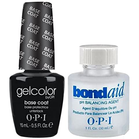 Esmalte de uñas led/UV OPI Gel Color Base Coat 15ml + Bond Aid primer 30ml–100% gel Authenic–Patines
