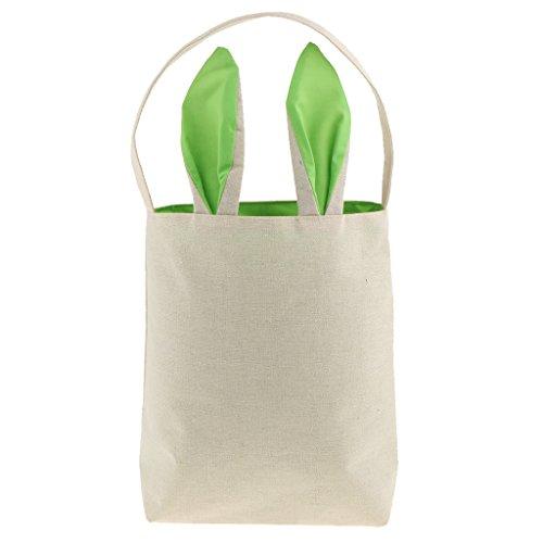 Stoff Handtasche Muster (Sharplace 1 Stück Handtasche Ostergeschenk tüte mit Kaninchen Ohren Muster Ostern Stoff Jute Stoffbeutel - Grün)