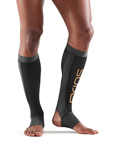 6aaabe54a7864 SKINS Essentials K-Proprium Unisex Calftights with Stirrup Black/Charcoal M  Calf Tights Mixte
