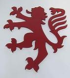 Decorazione Muro scudo Leone Lion in 4mm in acciaio laccato rosso 18x 16cm