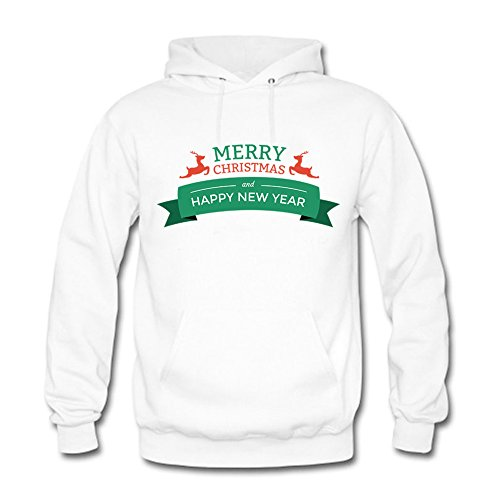 Womens Merry Christmas and Happy New Year Printed Cotton Long Sleeve Unisex  Hoodie Casual Pullover Hooded 162c3052bc1e