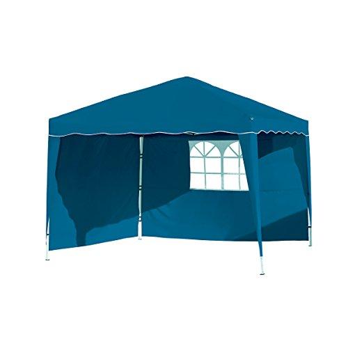 Vanage Pavillon Stella blau aus Aluminium mit 4 Seitenwänden, 300x300x260cm, Faltpavillon...