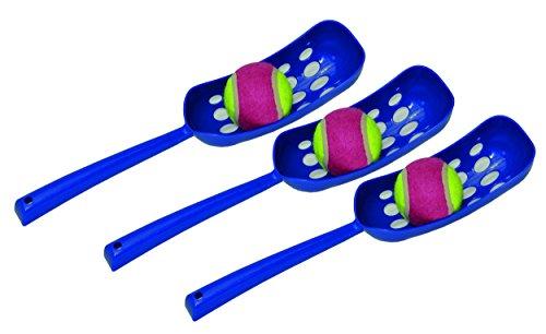 nanook Ballschleuder für Hunde, Wurfschleuder mit Ball, Farbe: blau, Länge: 36 cm, Ø für Wurfbälle: 6,5 cm , 3 Stück