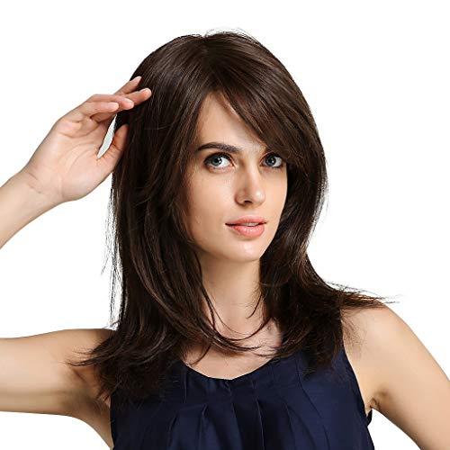 Kostüm Coaplay - Sisit Damen Klassische Mode braunes Haar Perücke mit lockigem und langem Haar 20 Zoll perfekt für Party Coaplay und Kostüm