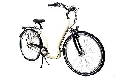 """28"""" Alu Damen City Bike Easy Boarding Tiefeinsteiger Shimano 7G. Rücktritt Beige"""