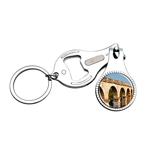 Hqiyaols Keychain Spanien Römisches Aquädukt Tarragona Nagelknipser Flaschenöffner Nagelfeile Keychain Kreative Kristall Edelstahl Multifunktions Souvenirs Geschenke -