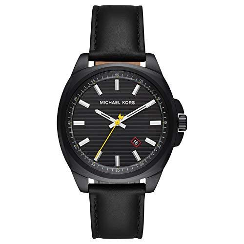 Michael Kors Herren Analog Quarz Uhr mit Leder Armband MK8632
