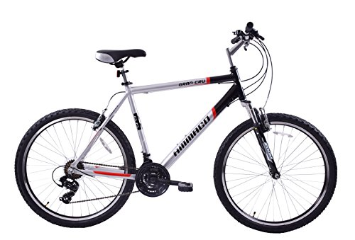 Ammaco Gran Cru 26 Wheel Mens Front Suspension Alloy Lightweight Mountain Bike XL 23 Frame For TALL Men Black/Silver