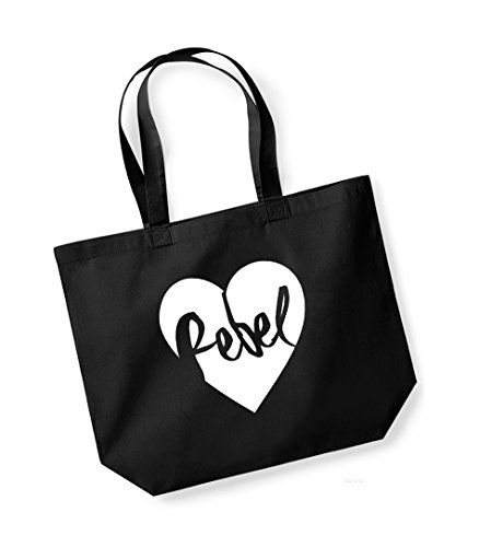 Rebel Heart - Large Canvas Fun Slogan Tote Bag Black/White