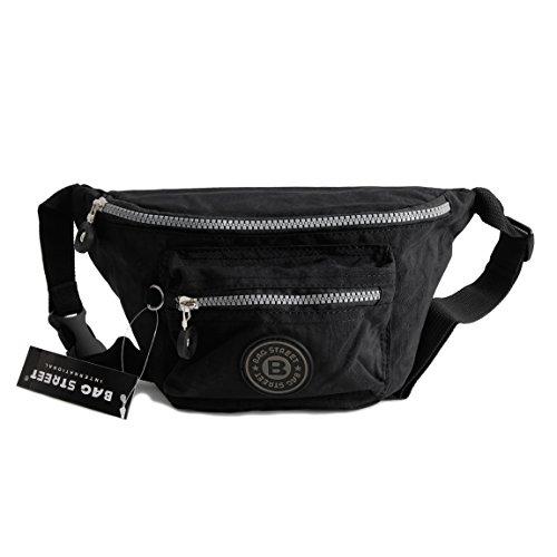 Bag Street Gürtel Tasche Hüfttasche Bauchtasche Nylon präsentiert von ZMOKA® in versch. Farben (Schwarz)