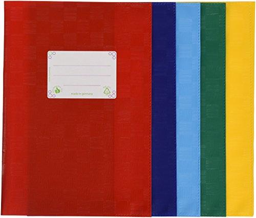 Preisvergleich Produktbild LANDRÉ 100420100 Hefthülle | 5er Pack | A5 | Heftschoner | Heftumschlag | geprägt in Bast-Optik | fünf Farben sortiert