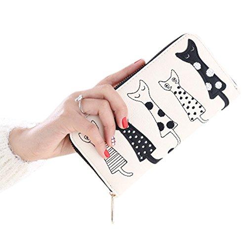 Coface Cartoon gatto sveglio borsa del portafoglio da donna con chiusura lampo Off White