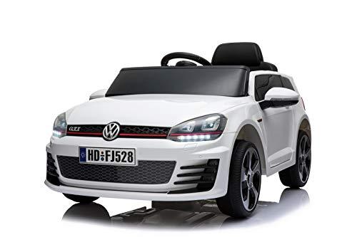 Toyas Lizenz VW Volkswagen Golf GTI Kinder Elektrofahrzeug Kinderfahrzeug Kinderauto Elektroauto 2X 30W Motor Weiß