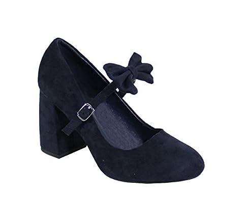 By Shoes - Escarpin Talon Carré Effet Daim - Femme - SM - S37 - Taille 37 - Blue