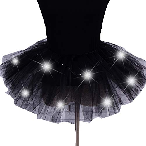 Frauen Mädchen LED Leuchten Tulle Tutu Rock Fancy Hip Hop Tanzen Kleid Party Halloween Kostüm (Schwarz) (Hip Mädchen Für Halloween-kostüme Hop)