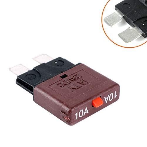 Monllack 10-A-Sicherung 12 V / 24 V für Kfz-Kfz-Kfz-Kfz-Sicherungshalter mit rücksetzbarem Inline-Sicherungshalter Schutz Stereo Manueller Reset Atc-type Fuse