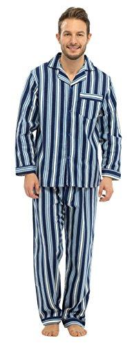 Hombre-Largo-Tradicional-Pijama-2-piezas-clsico-set-Hospital-Top-pantalones-ropa-de-dormir-pijamas-tamao-S-XXL