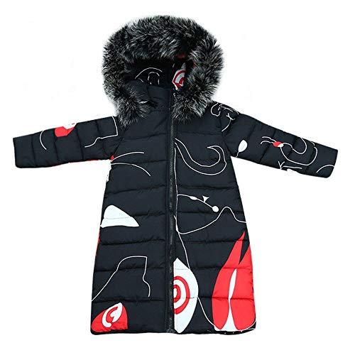 Xmiral Abrigo Largo para Invierno Plumifero para Niñas para Esqui Nieve con Capucha Estampado Original Calentito(5-6 años,Negro)