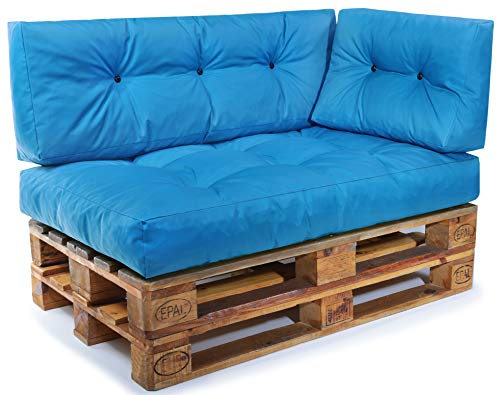 sen Set Palettensofa Palettenpolster Palettenauflagen Sofa Kissen Indoor Outdoor Gesteppt für 120 x 80 cm Europaletten (Set 3: Sitzkissen + Rückenkissen + Seitenkissen - Türkis) ()