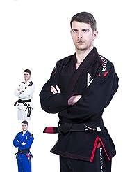 Vector deporte ligero BJJ GI–Kimono de Jiu-Jitsu brasileño de tejido de Pearl preencogido 100% tela de algodón, Attila serie, L, Negro