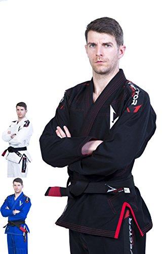 Vector Brazilian Jiu Jitsu (BJJ) Gi Kimono, vorgeschrumpft, geringes Gewicht, in Pearl-Weave gewebt, 100% Baumwolle, aus der Attila-Serie, mit kostenlosem weißen Gürtel, Herren, schwarz (Jiu Jitsu-gi-hose)