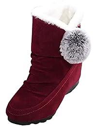 Botas Mujer,Ouneed ® Tobillo de las mujeres pisos botas Casual mantenga cálido gamuza zapatos