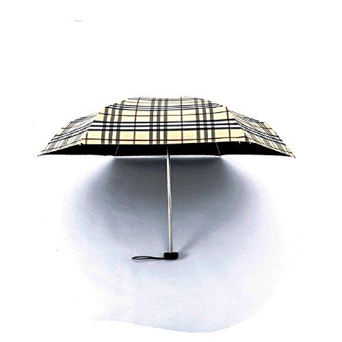 omyzam Regenschirm Falten Fünf Falten Regenschirm Automatische sonnigen Regenschirm Persönlichkeit Licht Anti-Schwarz Umbrella Dame Pockets Regenschirm Beige 1PCS 53.5X94X17.5CM