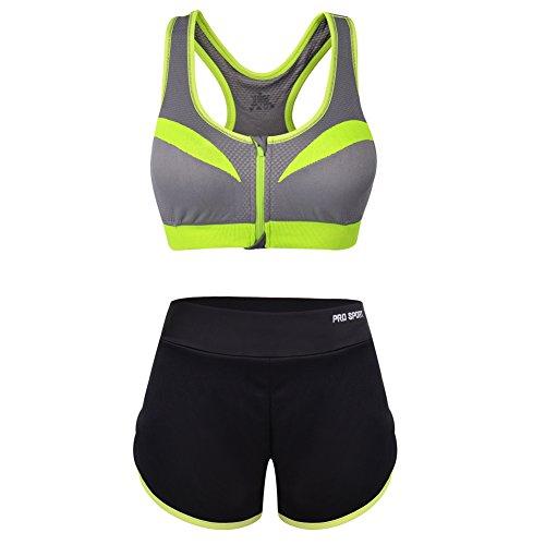 VBIGER Soutien-Gorge de Sport Pantalon de Yoga Gym Tenues Respirants pour Femmes (L, Gris)