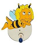 Unbekannt Garderobenhaken - die Biene Maja liegt - aus Holz - für Kinder mit 1 Haken - Kinderzimmer Garderobe Kleiderhaken / Garderobenleiste Kindergarderobe Wandhaken Wandgarderobe - Bienen Honig